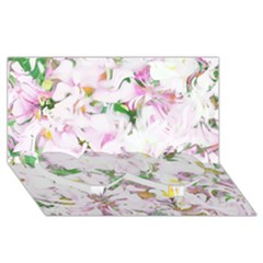 Soft Floral, Spring Twin Heart Bottom 3d Greeting Card (8x4)