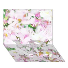 Soft Floral, Spring Love Bottom 3d Greeting Card (7x5)