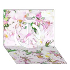 Soft Floral, Spring Peace Sign 3d Greeting Card (7x5)