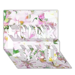 Soft Floral, Spring Thank You 3d Greeting Card (7x5)