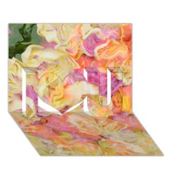 Soft Floral,roses I Love You 3d Greeting Card (7x5)