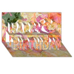 Soft Floral,roses Happy Birthday 3d Greeting Card (8x4)