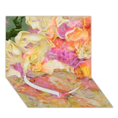 Soft Floral,roses Heart Bottom 3D Greeting Card (7x5)