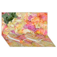 Soft Floral,roses Twin Heart Bottom 3D Greeting Card (8x4)