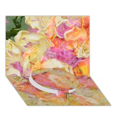 Soft Floral,roses Circle Bottom 3d Greeting Card (7x5)