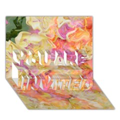 Soft Floral,roses YOU ARE INVITED 3D Greeting Card (7x5)