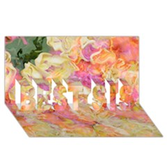 Soft Floral,roses Best Sis 3d Greeting Card (8x4)