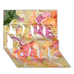 Soft Floral,roses Take Care 3d Greeting Card (7x5)