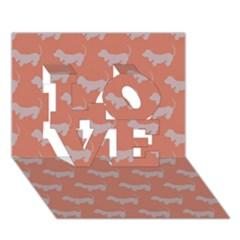 Cute Dachshund Pattern In Peach Love 3d Greeting Card (7x5)