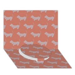Cute Dachshund Pattern in Peach Circle Bottom 3D Greeting Card (7x5)