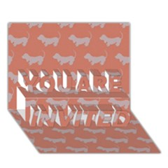 Cute Dachshund Pattern In Peach You Are Invited 3d Greeting Card (7x5)