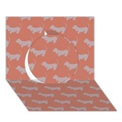 Cute Dachshund Pattern In Peach Circle 3d Greeting Card (7x5)