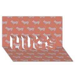 Cute Dachshund Pattern In Peach Hugs 3d Greeting Card (8x4)