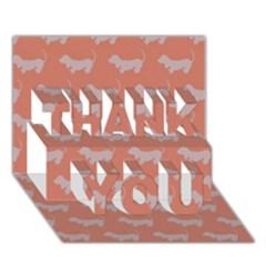 Cute Dachshund Pattern In Peach Thank You 3d Greeting Card (7x5)