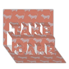 Cute Dachshund Pattern in Peach TAKE CARE 3D Greeting Card (7x5)