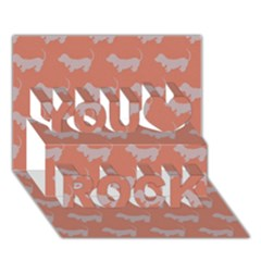 Cute Dachshund Pattern In Peach You Rock 3d Greeting Card (7x5)