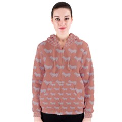 Cute Dachshund Pattern in Peach Women s Zipper Hoodies