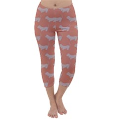 Cute Dachshund Pattern in Peach Capri Winter Leggings