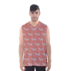 Cute Dachshund Pattern In Peach Men s Basketball Tank Top