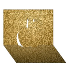 Gold Plastic Apple 3d Greeting Card (7x5)