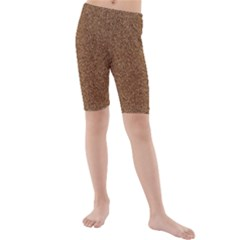 DARK BROWN SAND TEXTURE Kid s Mid Length Swim Shorts