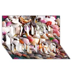 Colorful Sea Shells Laugh Live Love 3d Greeting Card (8x4)