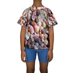 Colorful Sea Shells Kid s Short Sleeve Swimwear