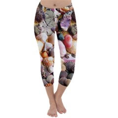Colorful Sea Shells Capri Winter Leggings