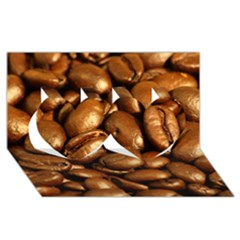 Chocolate Coffee Beans Twin Hearts 3d Greeting Card (8x4)