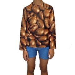 CHOCOLATE COFFEE BEANS Kid s Long Sleeve Swimwear