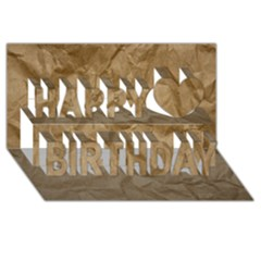 Brown Paper Happy Birthday 3d Greeting Card (8x4)