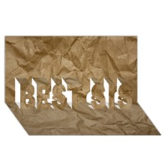 Brown Paper Best Sis 3d Greeting Card (8x4)