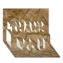 Brown Paper Thank You 3d Greeting Card (7x5)