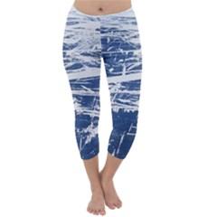 BLUE AND WHITE ART Capri Winter Leggings
