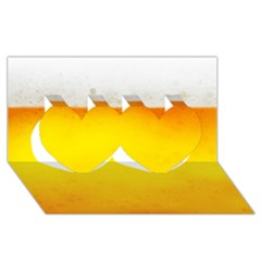 BEER Twin Hearts 3D Greeting Card (8x4)