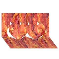 Bacon Twin Hearts 3d Greeting Card (8x4)