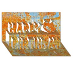 YELLOW RUSTY METAL Happy Birthday 3D Greeting Card (8x4)