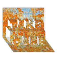 Yellow Rusty Metal Take Care 3d Greeting Card (7x5)