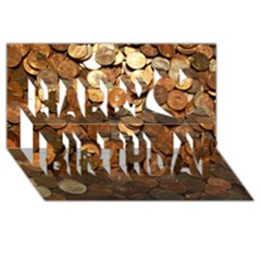 Us Coins Happy Birthday 3d Greeting Card (8x4)