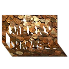 Us Coins Merry Xmas 3d Greeting Card (8x4)