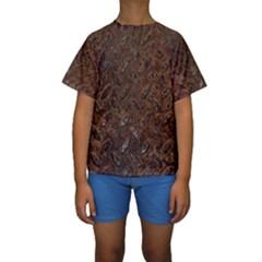 RUSTY METAL PATTERN Kid s Short Sleeve Swimwear