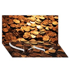 Pennies Twin Heart Bottom 3d Greeting Card (8x4)
