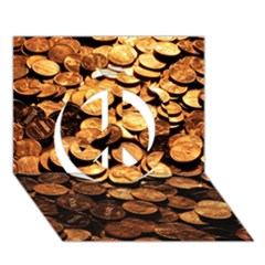 PENNIES Peace Sign 3D Greeting Card (7x5)