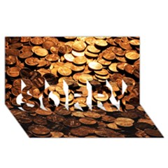 PENNIES SORRY 3D Greeting Card (8x4)