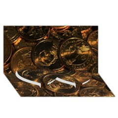 Gold Coins 2 Twin Heart Bottom 3d Greeting Card (8x4)