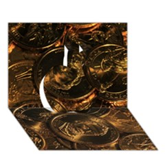GOLD COINS 2 Apple 3D Greeting Card (7x5)
