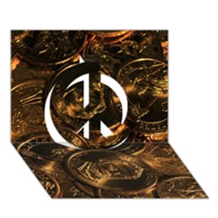 Gold Coins 2 Peace Sign 3d Greeting Card (7x5)