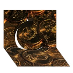 Gold Coins 2 Circle 3d Greeting Card (7x5)