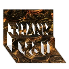 Gold Coins 2 Thank You 3d Greeting Card (7x5)