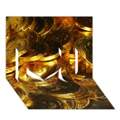GOLD COINS 1 I Love You 3D Greeting Card (7x5)